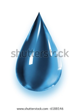 Super Macro of a blue water drop dripping. Ecosystem concept - stock photo