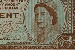 Super macro of older 1 cent banknote from Hongkong with Queen Elisabeth