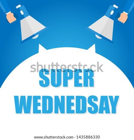 Super monday announcement, hand holding megaphone and specch bubble announcing big sale,   illustration
