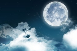 Super moon. a bright full moon and stars above the seascapes at night. Background to the tranquility of nature, outdoor at night.