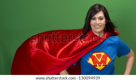 Super Mother Hero in Red Cape With Chest Crest Smiling