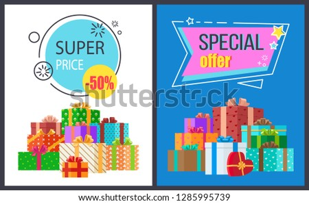 Super price special offer set of two posters with discount adverts in geometric patterns. raster illustration decorated with colorful presents