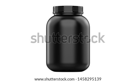 Super realistic 3d illustration sport nutrition container without label. Whey protein and mass gainer black plastic jar isolated on white background.