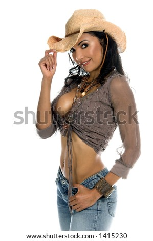 stock photo : Super sexy rodeo cowgirl in torn jeans, boots and cowboy hat