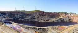 Super-size panorama 47 mega pixel of mining levels at open mine pit. Deep excavation and extraction of minerals  in Tharsis, Huelva, Andalusia, Spain