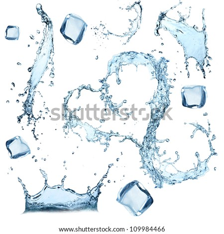 Super size Water splashes collection over white background