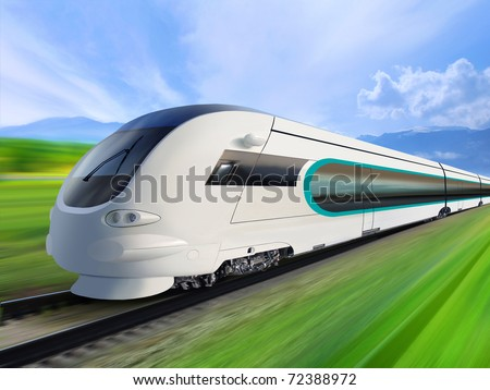 super streamlined train with motion blur moves on countryside - stock photo