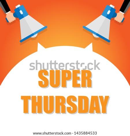 Super thursday announcement, hand holding megaphone and specch bubble announcing big sale,   illustration