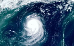 Super typhoon over the ocean. The eye of the hurricane. View from outer space  Some elements of this image furnished by NASA