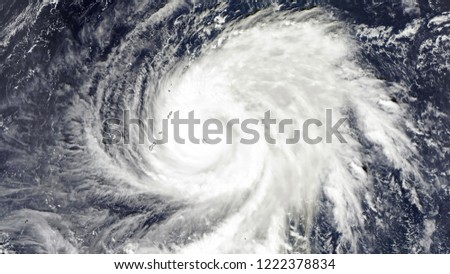 Super Typhoon Yutu in the Philippines. Tropical storm in the western Pacific Ocean exploded into a category 5 super typhoon. Elements of this image furnished by NASA.