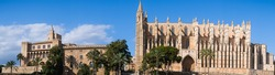 super wide angle landscape view of the cathedral of Palma de Mallorca, Spain
