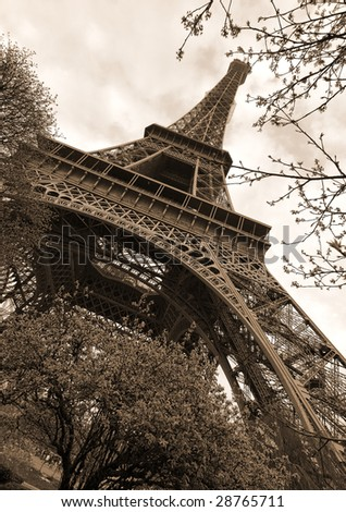 Super wide angle shot of the Eiffel tower, Paris