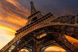 Super wide shot of Eiffel Tower under dramatic sunset, Paris, France