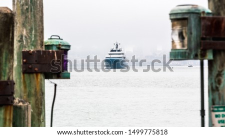 Super yacht framed by lanterns, San Francisco Bay Stock fotó ©