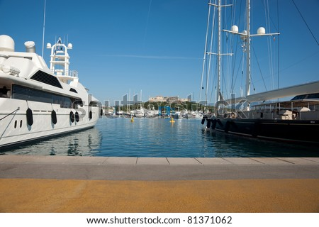 Super yachts moored at Antibes, on French Riviera.