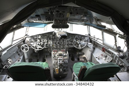 Superannuated airplane cockpit view