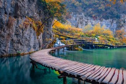 Superb evening view of pure water waterfall in Plitvice National Park. Spectacular autumn scene in Croatia, Europe. Beauty of nature concept background.
