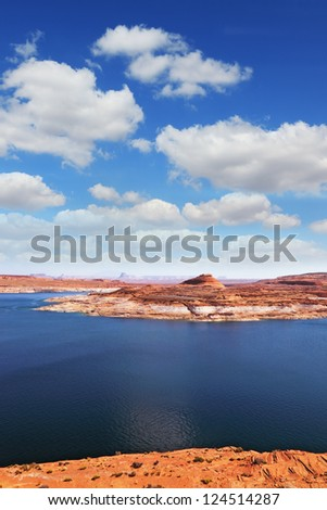 Superb huge and beautiful Lake Powell in the red desert of Utah and Arizona
