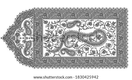 SUPERB RARE ANTIQUE KASHMIR PAISLEY SHAWL PATTERN 19TH CENTURY. Antique Embroidery Tapestry Artwork. Laces And Trims Border Paisley Floral Print Design.