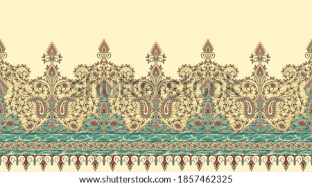 SUPERB RARE ANTIQUE KASHMIR PAISLEY SHAWL PATTERN 19TH CENTURY. Antique Embroidery Tapestry Artwork. Laces And Trims Border Paisley Floral Print Design. Photo stock ©