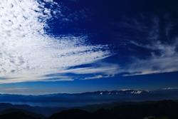 superb view of central alps from the summit of Mt.Shiomi in the Southern Alps,ina city,nagano prefecture,japan.