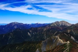 superb view of Mountains in the northern part of the Southern Alps from the summit of mt.shiomi in the Southern Alps,ina city,nagano prefecture,japan