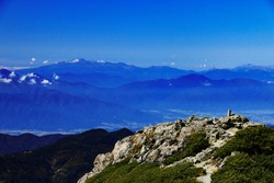 superb view of northern alps from the summit of Mt.Shiomi in the Southern Alps,ina city,nagano prefecture,japan.