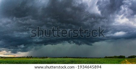 Supercell storm clouds with hail and intence winds