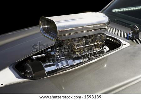 Supercharged V8 engine.