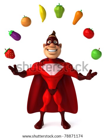 Superhero and vegetables