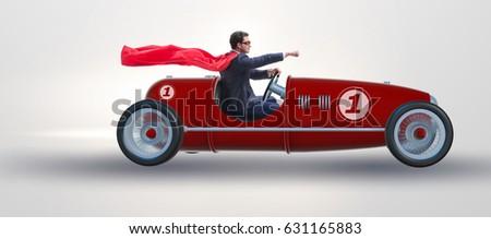 superhero businessman driving...