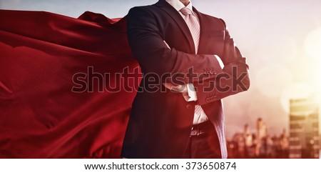 superhero businessman looking...