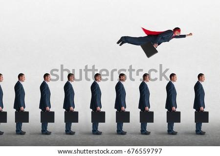 superhero businessman overcoming inertia flying away from a static queue of businessmen