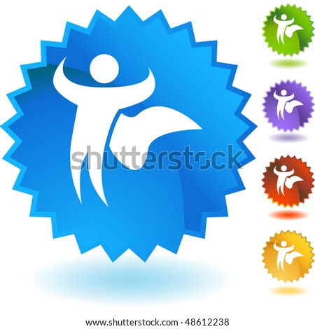Superhero cape web button isolated on a background.