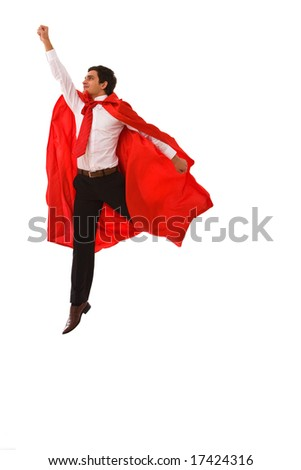 superhero concept for business with a young businessman jumping high