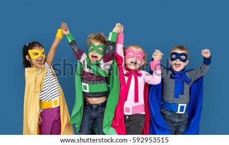 Shutterstock Superhero Kids Friendship Smiling Happiness Playful Togetherness