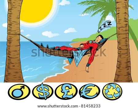 Superhero relaxing, taking a holiday. - stock photo