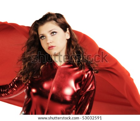 SuperHero woman with red outfit and cape
