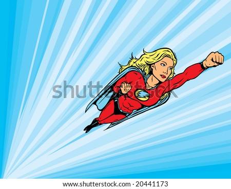 Superheroine flying into action - stock photo