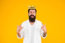 Superiority complex. Narcissistic person. Love yourself. Sense of self importance. Responsibility being king. Handsome bearded guy king. King crown. Egoist selfish man. Bearded man in white clothes.