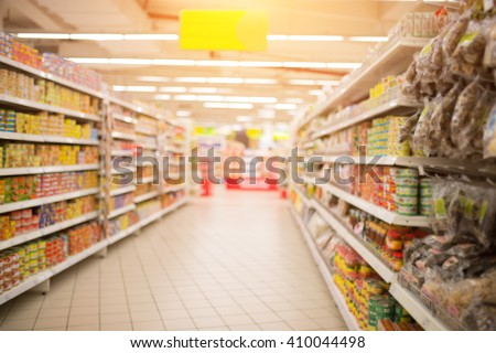 Supermarket Aisle and Shelves in blurry for background