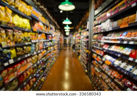 supermarket blur background.Product on shelf. #336580343