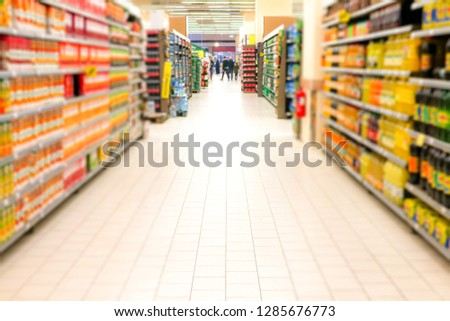 Supermarket blur background with bokeh, Miscellaneous product shelf                               #1285676773