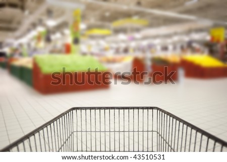 Supermarket cart POV and the blurred background