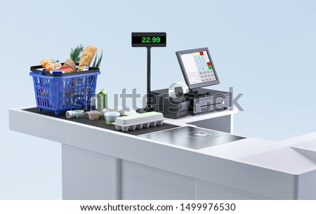Supermarket cashier checkout work place with card payment terminal, order screen, shopping market basket with assorted grocery products, fresh food, drinks isolated. Budget planning, money saving. 3D