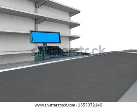 Supermarket Counter. Mall Cash Register With Empty Desk. 3D rendering
