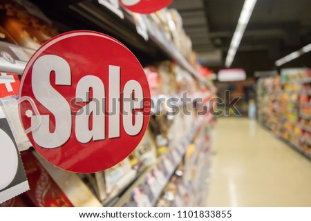 supermarket discount sign with copy space,business concept Foto stock ©