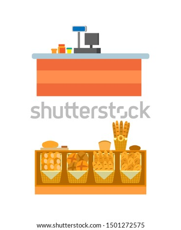Supermarket empty seller counters and desks of cashier raster. Shelves with bread and pastry, bakery shop shelves with rolls and buns, long loaf and cakes
