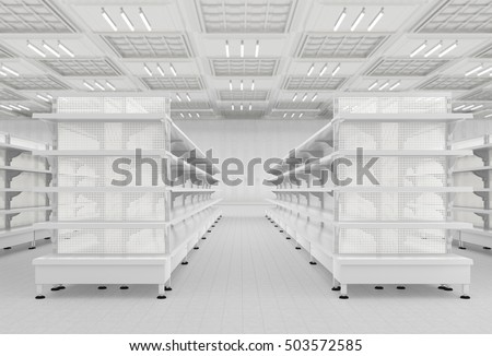Supermarket interior with empty store shelves. 3d render
