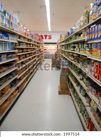 Supermarket isle - stock photo